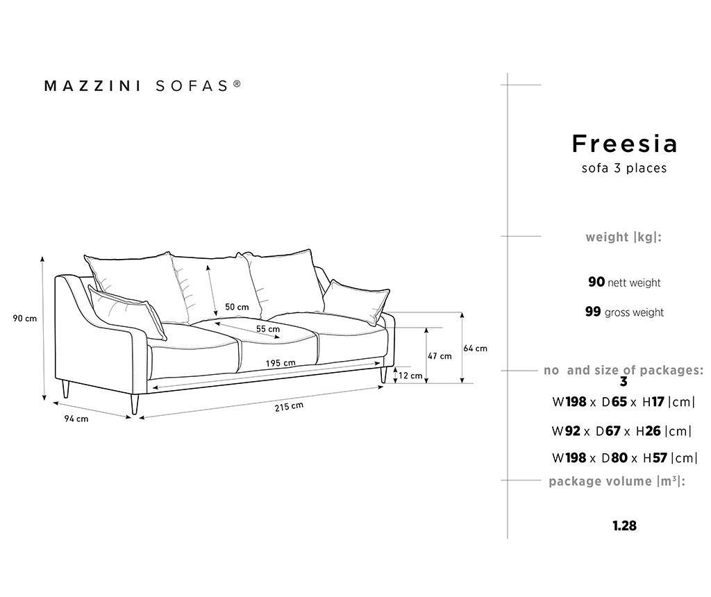 Canapea extensibila 3 locuri Freesia Petrol