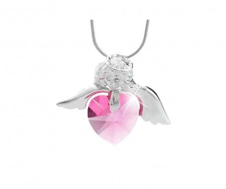 Lantisor cu pandantiv Laura Bruni Crystal Angel Heart Pink