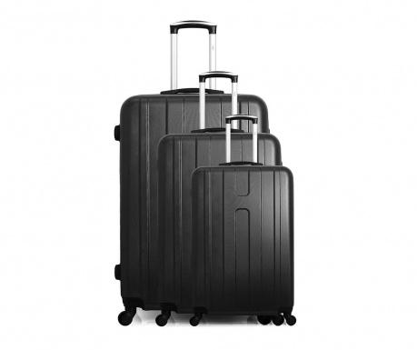 Zestaw 3 walizek na kółkach Atlanta Black