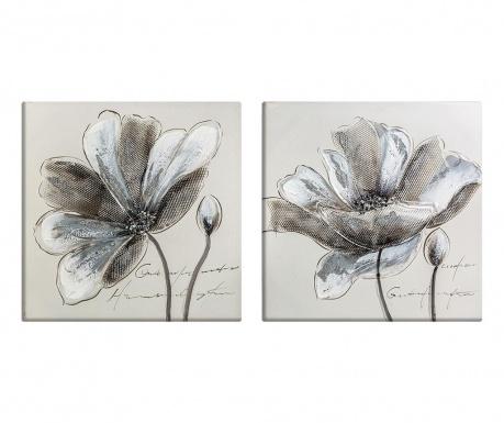 Σετ 2 πίνακες Flowers 50x50 cm