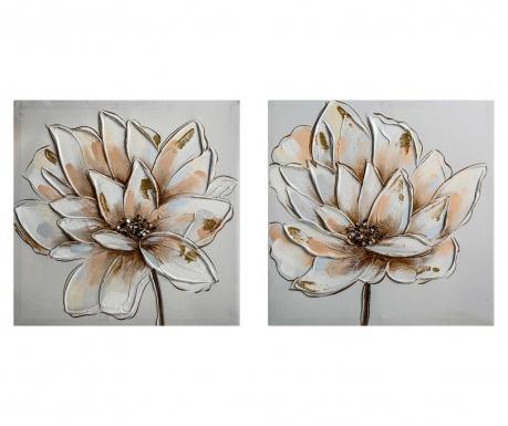 Σετ 2 πίνακες Flower 40x40 cm