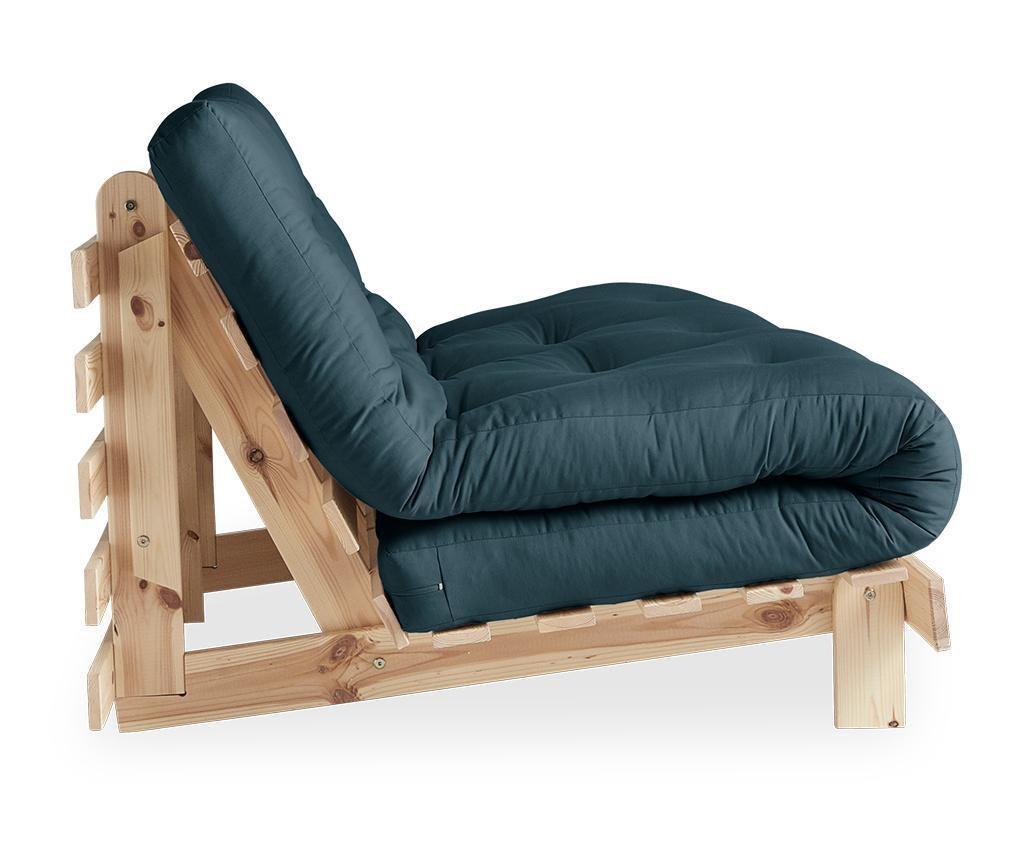Sofa extensibila Roots Raw & Petrol Blue 140x200 cm