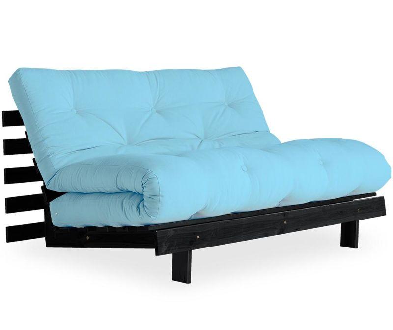 Raztegljiva zofa Roots Black & Light Blue 140x200 cm