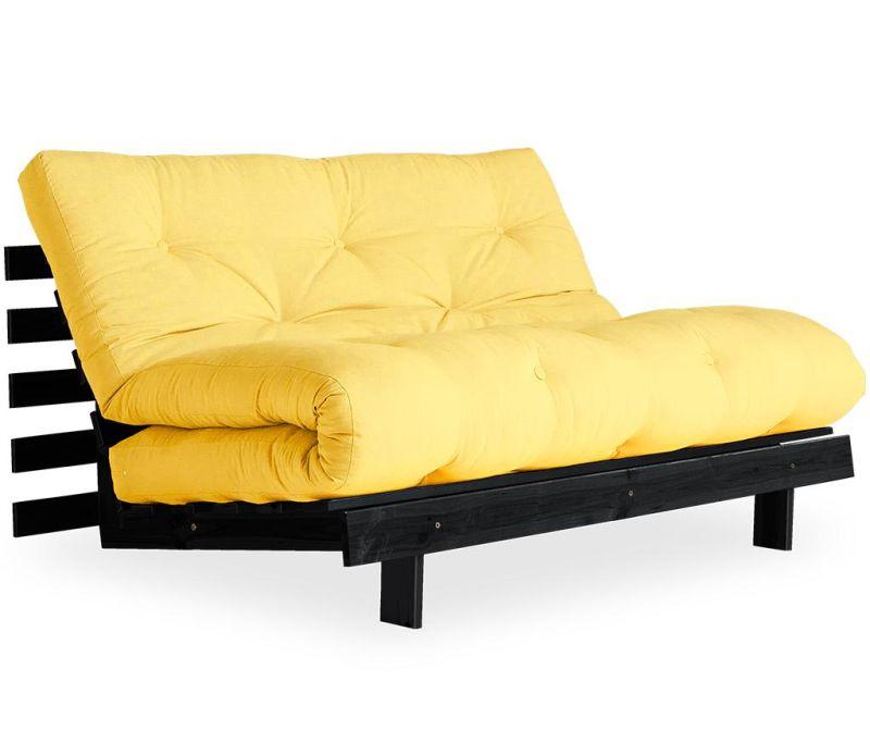 Raztegljiva zofa Roots Black & Yellow 140x200 cm