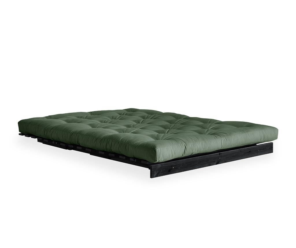 Sofa extensibila Roots Black & Olive Green 140x200 cm