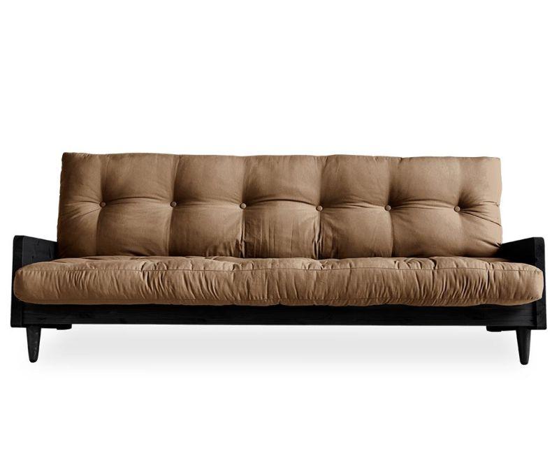 Sofa extensibila Indie Black & Mocca 130x190 cm