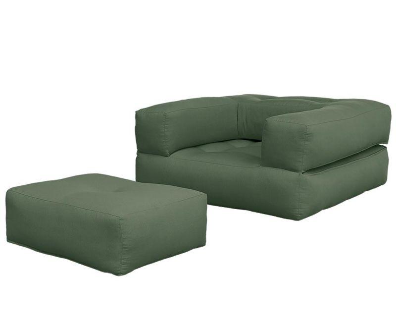 Raztegljiv fotelj Cube Olive Green
