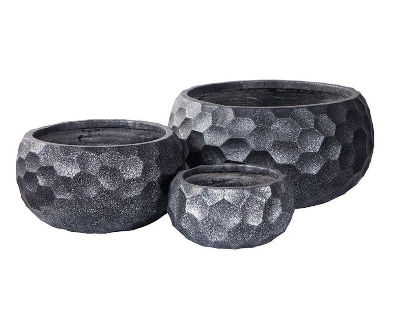 Set 3 stojal za cvetlične lonce Concrete Pattern