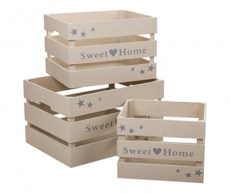 Sweet Home Grey 3 db Tárolóláda