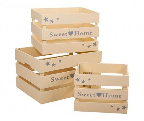 Sweet Home Cream 3 db Tárolóláda
