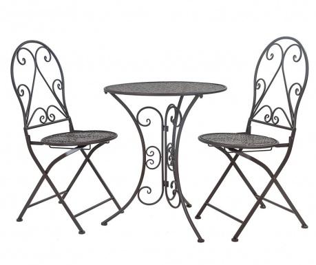 Classic Pattern Black Kültéri asztal és 2 db szék