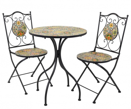 Mosaic Tiles Multi Kültéri asztal és 2 db szék