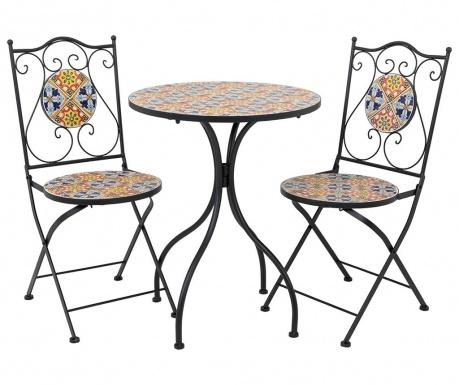 Mosaic Multi Flowers Kültéri asztal és 2 db szék