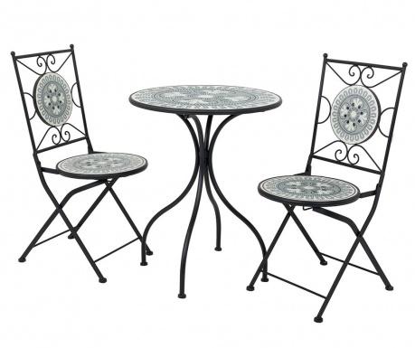 Mosaic Flower Kültéri asztal és 2 db szék