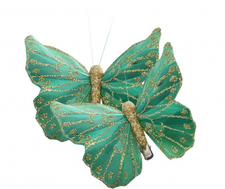 Butterfly Green 2 db Dekoráció csíptetővel