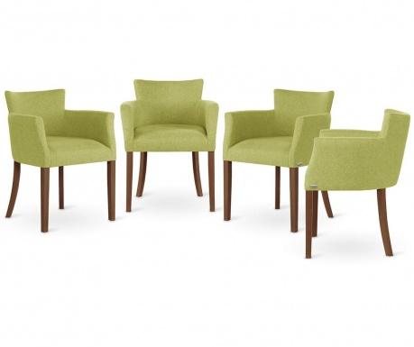 Zestaw 4 krzeseł Santal Brown & Light Green