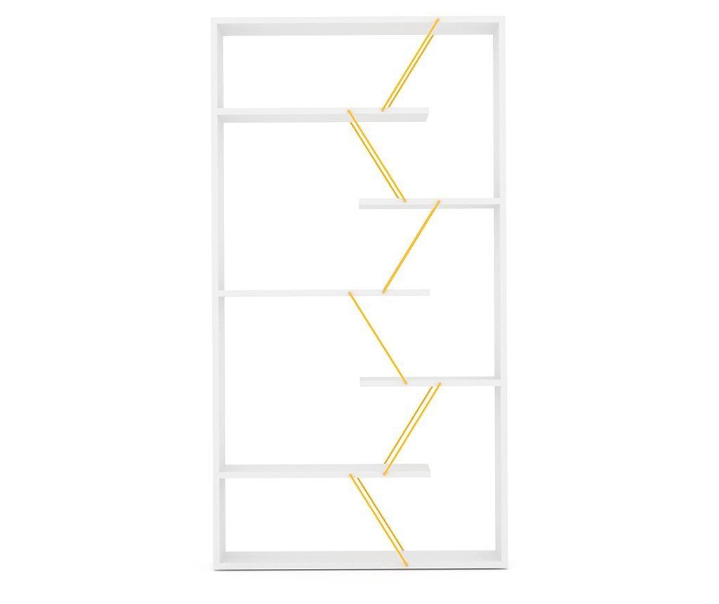 Knihovna Tars White Yellow