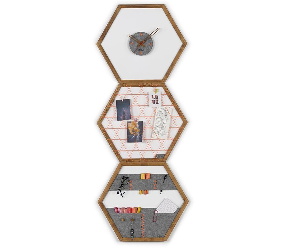 Set panou memo, ceas de perete si organizator de perete Tuva Orange