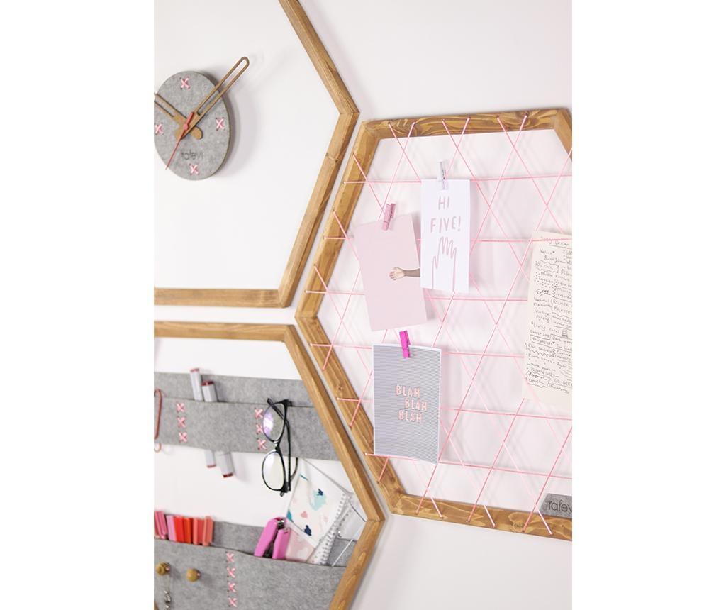 Set panou memo, ceas de perete si organizator de perete Tuva Pink