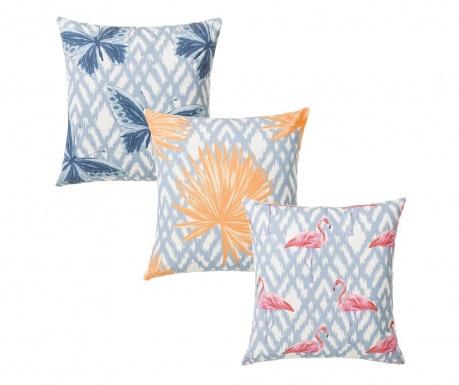 Σετ 3 διακοσμητικά μαξιλάρια Summer Flamingo 45x45 cm
