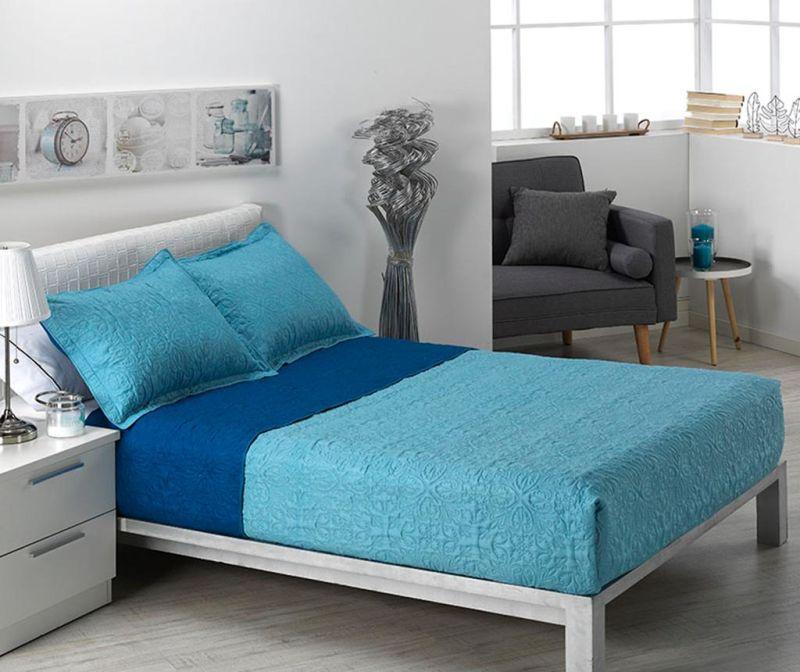 Set s prešitim posteljnim pregrinjalom King Alma Pattern Blue