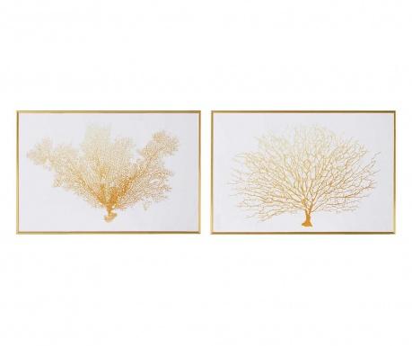 Σετ 2 πίνακες Coral Tree White Gold 30x45 cm