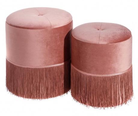 Σετ 2 σκαμπό Fringes Pink