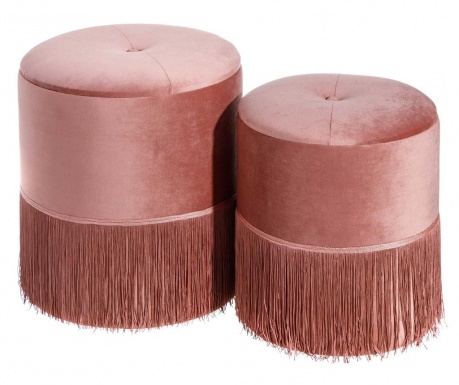 Sada 2 taburetiek Fringes Pink