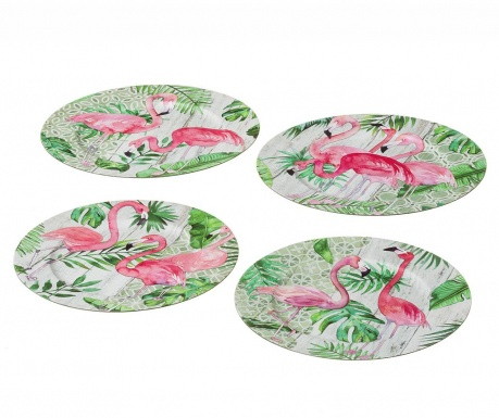 Σετ 4 πιατέλες μιας χρήσης Flamingo Party
