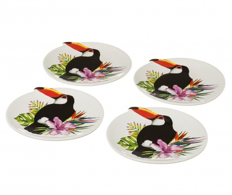 Σετ 4 ρηχά πιάτα Toucan