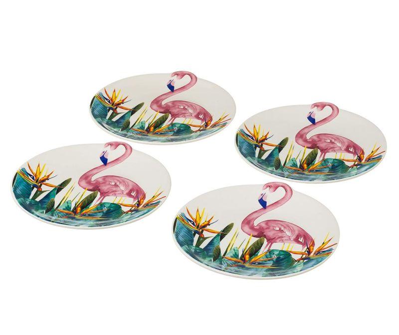Sada 4 plytkých tanierov Flamingo