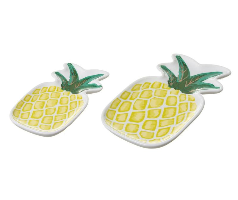 Sada 2 dekoračných podnosov Pineapple