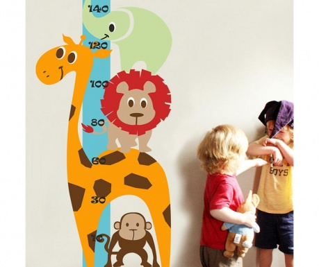 Samolepka na meranie výšky detí Animals