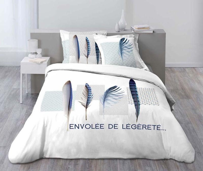 Set de pat Double Blue Plume