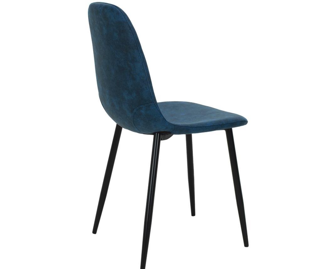 Stolica Bella Leather Blue Black Legs