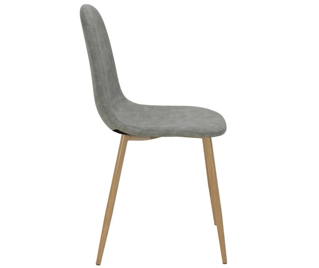 Stolica Bella Leather Grey Oak Legs