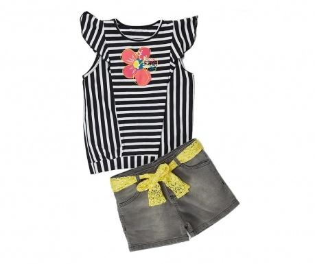 Σετ παιδικό κοντομάνικο μπλουζάκι και παντελόνι Flowers and Stripes