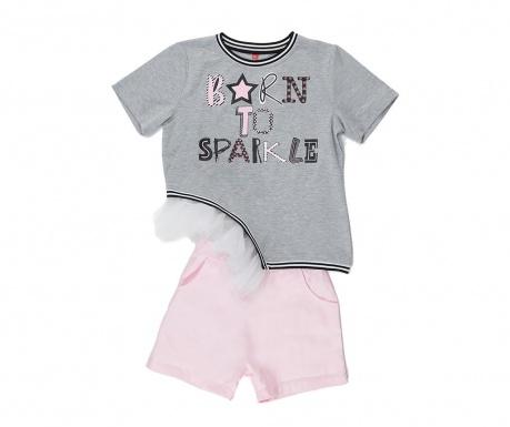 Σετ παιδική κοντομάνικη μπλούζα και παντελόνι Sparkle