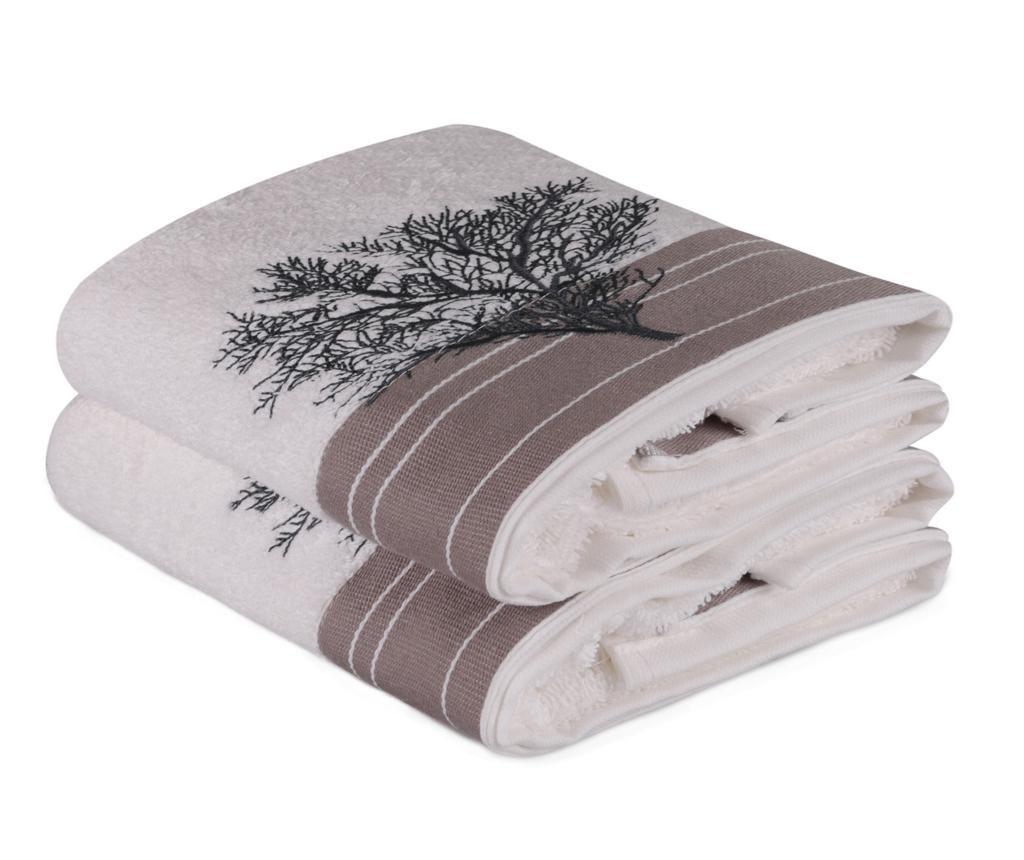 Sada 2 ručníků Life Tree Beige 50x90 cm