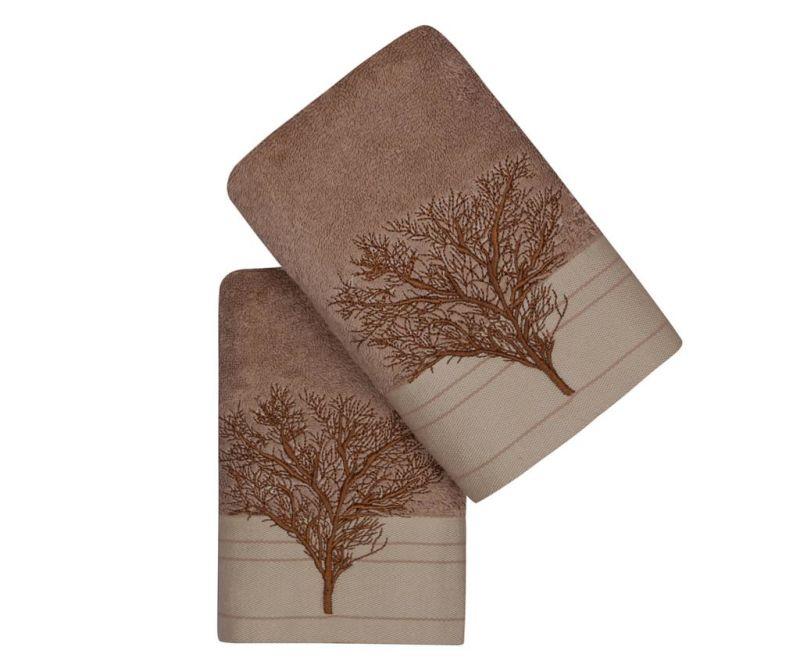 Sada 2 ručníků Life Tree Light Brown 50x90 cm