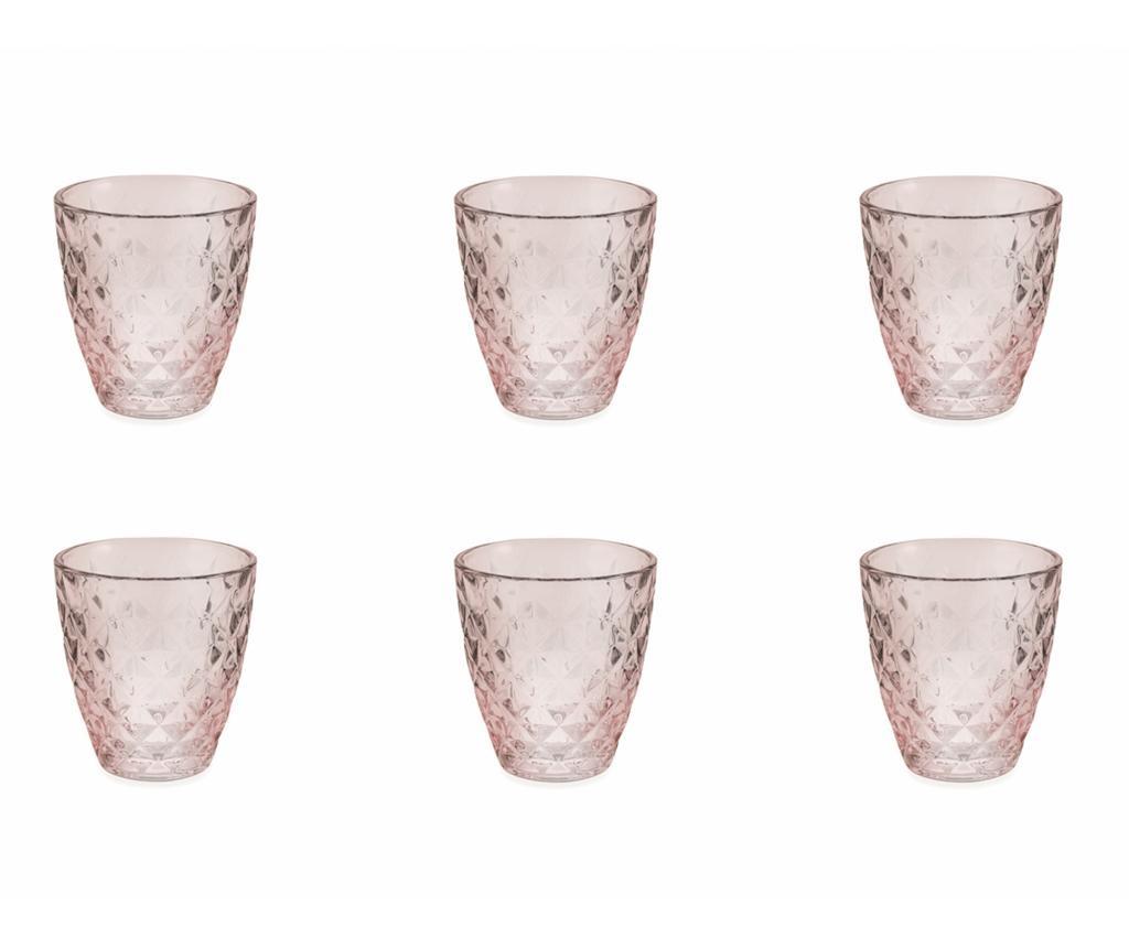 Set 6 pahare pentru apa Fresh Pink 257 ml