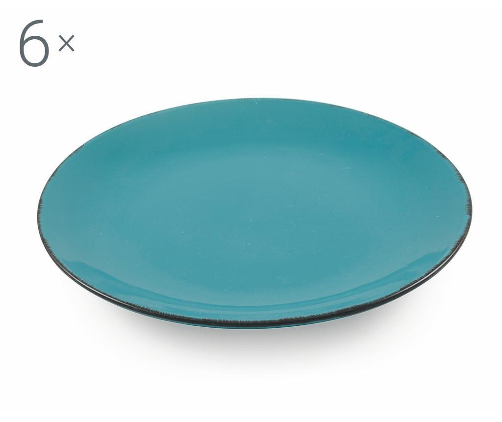 Set 6 farfurii intinse Baita Turquoise