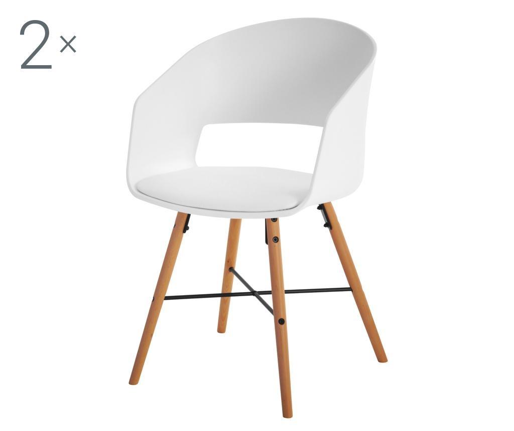 Set 2 scaune Luna White Cream