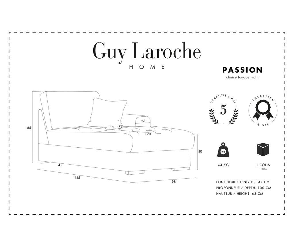 Desna ležaljka za dnevni boravak Passion Light Grey