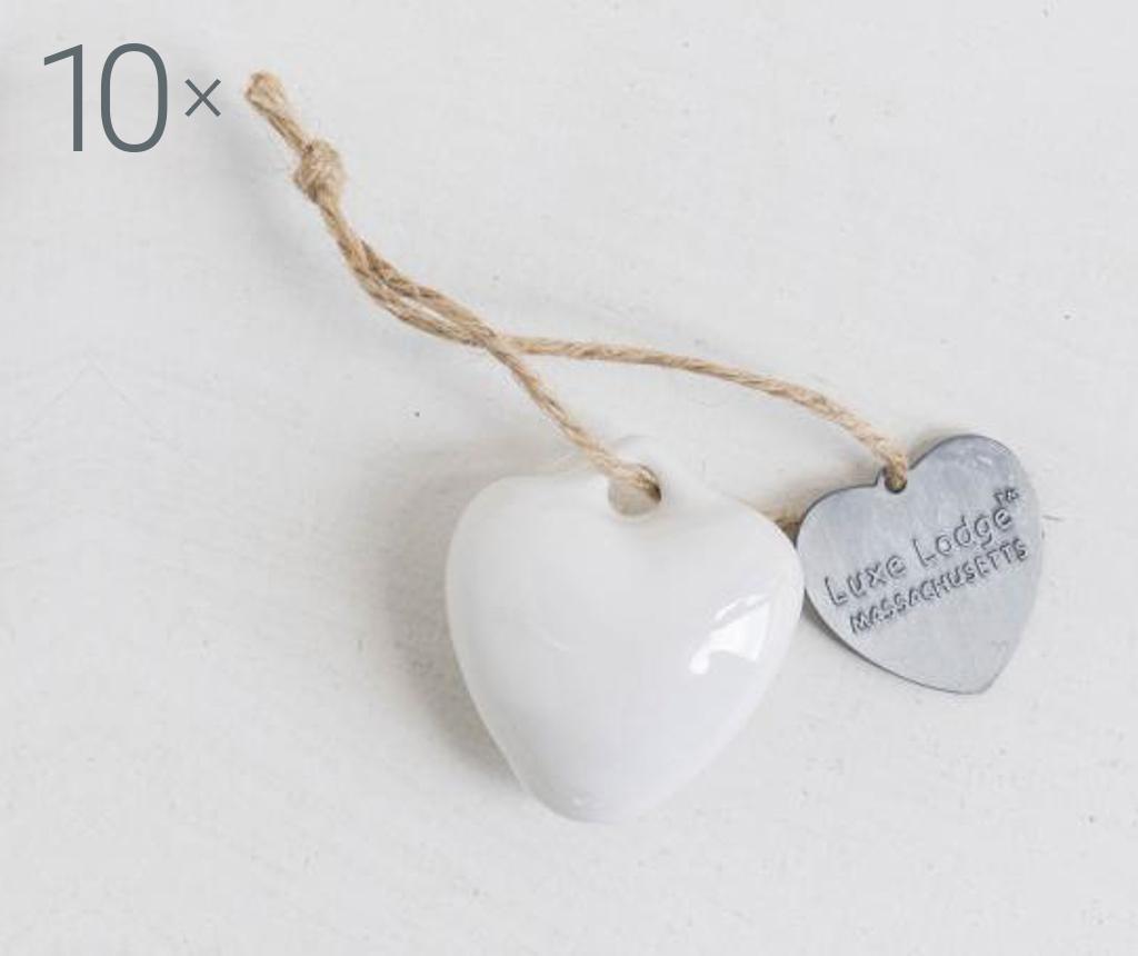 Set 10 visečih dekoracij Heart White
