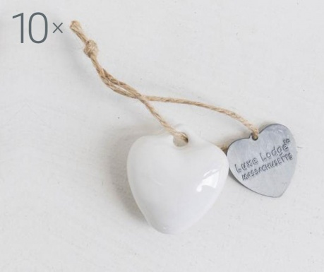 Set 10 decoratiuni suspendabile Heart White