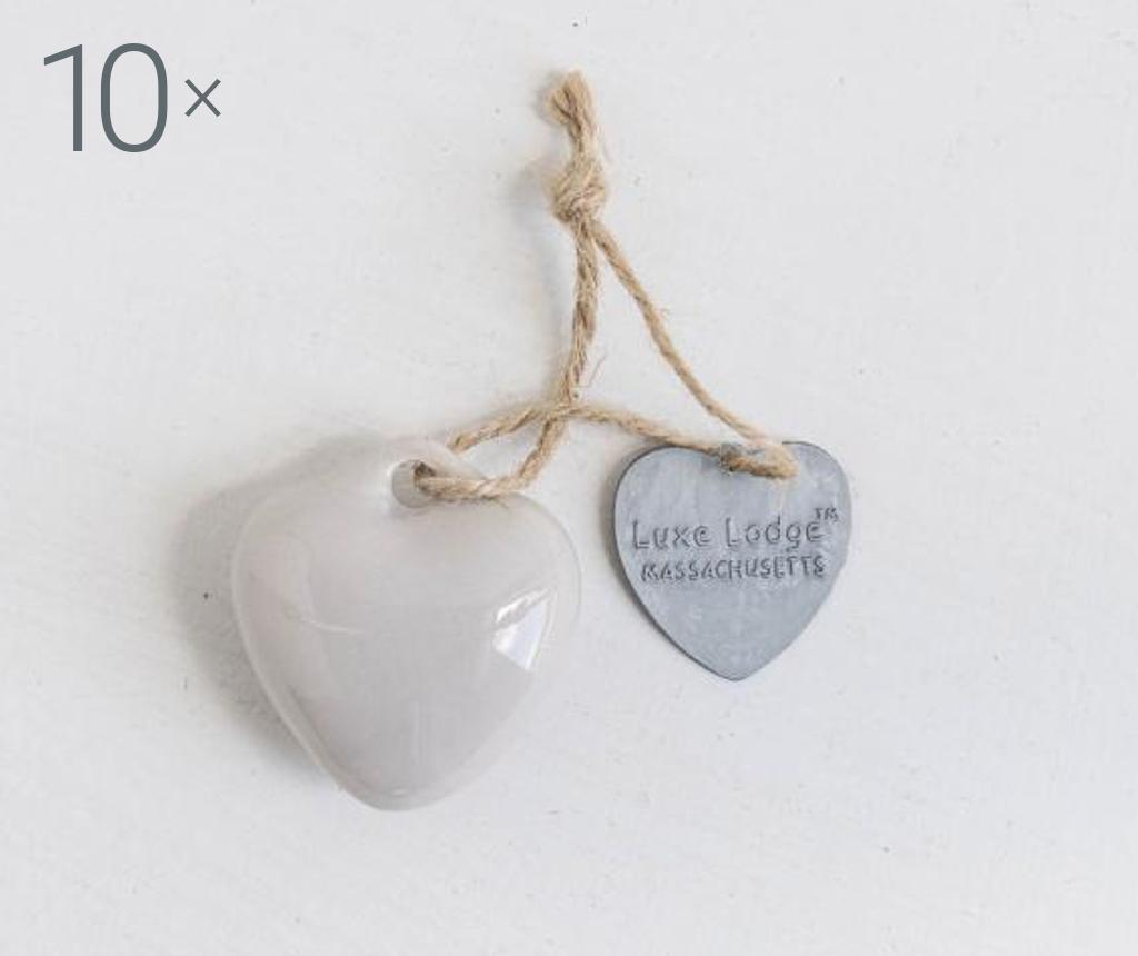 Set 10 visečih dekoracij Heart Light Grey