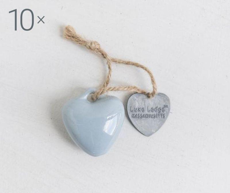 Set 10 visečih dekoracij Heart Light Blue