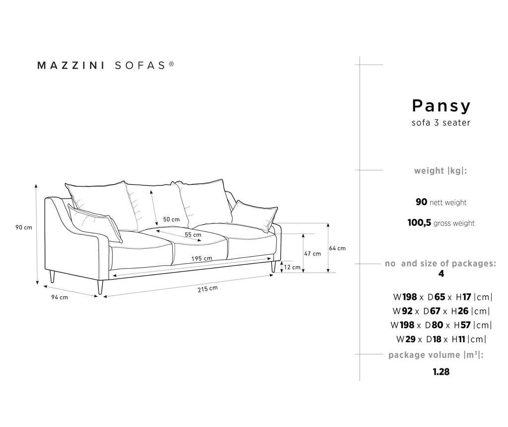 Canapea extensibila 3 locuri Pansy Petrol