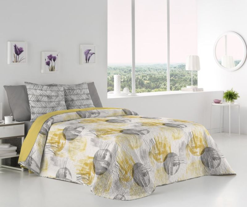 Set cuvertura Single Reversible  Harlem Amarillo
